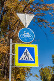 Road signs for pedestrians and cyclists Stock Photography