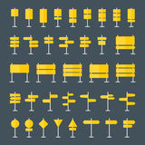 Road Signs and Pointers Flat Icons Set Royalty Free Stock Photography