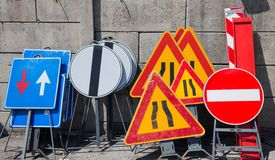 Road signs in police storage Stock Photos