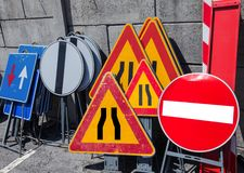 Road signs in police storage Stock Images