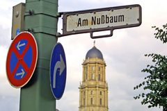 Road signs on a post in Berlin city, Germany Royalty Free Stock Photos