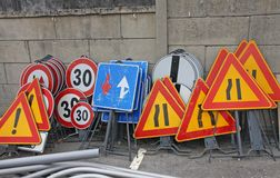 Road signs ready to be installed Stock Photography