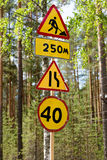 Road signs. repair Stock Photo