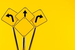 Road signs. Isolated on orange background Stock Images