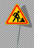 Road signs. Roadworks on transparent background. Royalty Free Stock Image