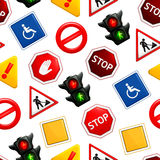 Road signs, seamless pattern Stock Image