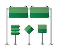 Road signs set green illustration Royalty Free Stock Images