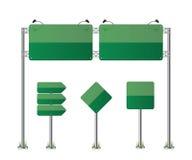 Road signs set green illustration. On white background vector illustration