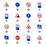 Road signs set icons in cartoon style. Big collection of road signs symbol Royalty Free Stock Photo