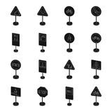 Road signs set icons in monochrome style. Big collection of road signs vector symbol stock illustration Stock Photos
