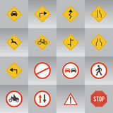 16 Road Signs. Several Most Common Road Signs stock illustration