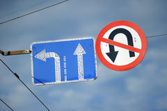 Road signs in the sky Royalty Free Stock Image