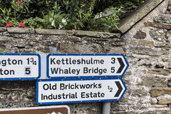 Road Signs in the small village of Pott Shrigley, Cheshire, England. Royalty Free Stock Image