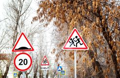 Road signs on the street royalty free stock photos