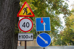 Road signs on the street Stock Photography