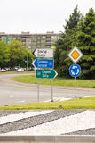Road signs on the streets of Burgas, Bulgaria Stock Images