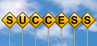 Road signs of success. Royalty Free Stock Photography