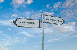 Road signs to decisions Stock Image