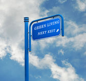 Road signs to green living Stock Photos