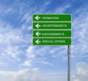 Road signs to promotion Royalty Free Stock Image