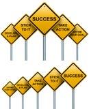 Road signs to success. Road signs to success isolated on white background Royalty Free Stock Photo
