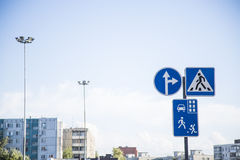 Road signs to town and everywhere Royalty Free Stock Image