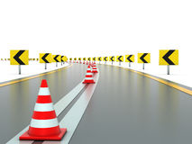 Road with signs and traffic cones royalty free illustration