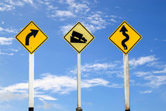 Road signs, traffic signs set on blue sky  background,with clipp Royalty Free Stock Photos