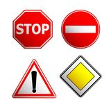 Road signs. Traffic stop, street icon set, illustration Royalty Free Illustration