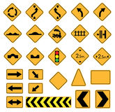 Road signs. Traffic signs, vector set, warning Stock Images