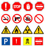 Road signs and Triangular Warning Hazard Signs Stock Photos