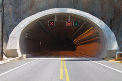 Road signs almost in the tunnel Royalty Free Stock Photo