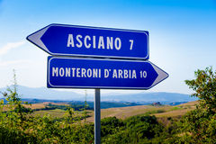 Road signs in Tuscany Stock Photography