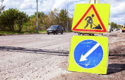 Road signs at the under construction road Royalty Free Stock Images