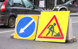 Road signs at the under construction road Royalty Free Stock Photo