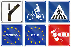 Road signs used in Italy Royalty Free Stock Photo