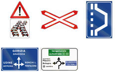 Road signs used in Italy Royalty Free Stock Photos