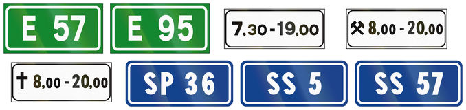 Road signs used in Italy Royalty Free Stock Photography