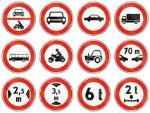 Road signs used in Slovakia Stock Photography