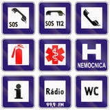 Road signs used in Slovakia. Collection of road signs used in Slovakia Royalty Free Stock Images