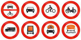 Road signs used in Spain. Collection of road signs used in Spain Stock Photo