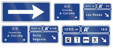 Road signs used in Spain. Collection of road signs used in Spain Stock Images