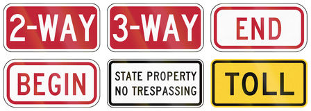 Road signs used in the US state of Delaware Royalty Free Stock Photos