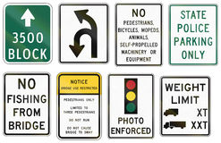 Road signs used in the US state of Virginia Stock Photo