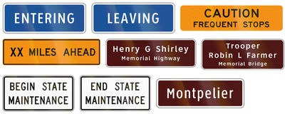 Road signs used in the US state of Virginia Stock Photography