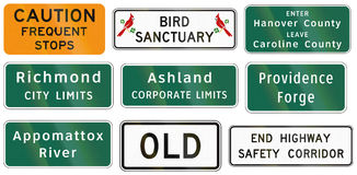 Road signs used in the US state of Virginia Stock Image