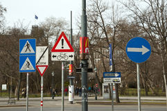 Road signs. Vienna. Austria. Different road signs in the center of Vienna Stock Photo