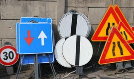 Road signs in a warehouse of the company Stock Photos