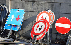 Road signs in a warehouse of construction company Royalty Free Stock Photography
