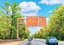 Road signs in Washington DC. Washington DC, USA - May 3, 2015: Road signs in Washington DC, America. Focus in motion stock photos